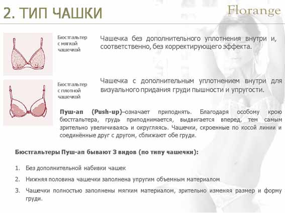 Florange - бюстгальтер - тип чашки описание